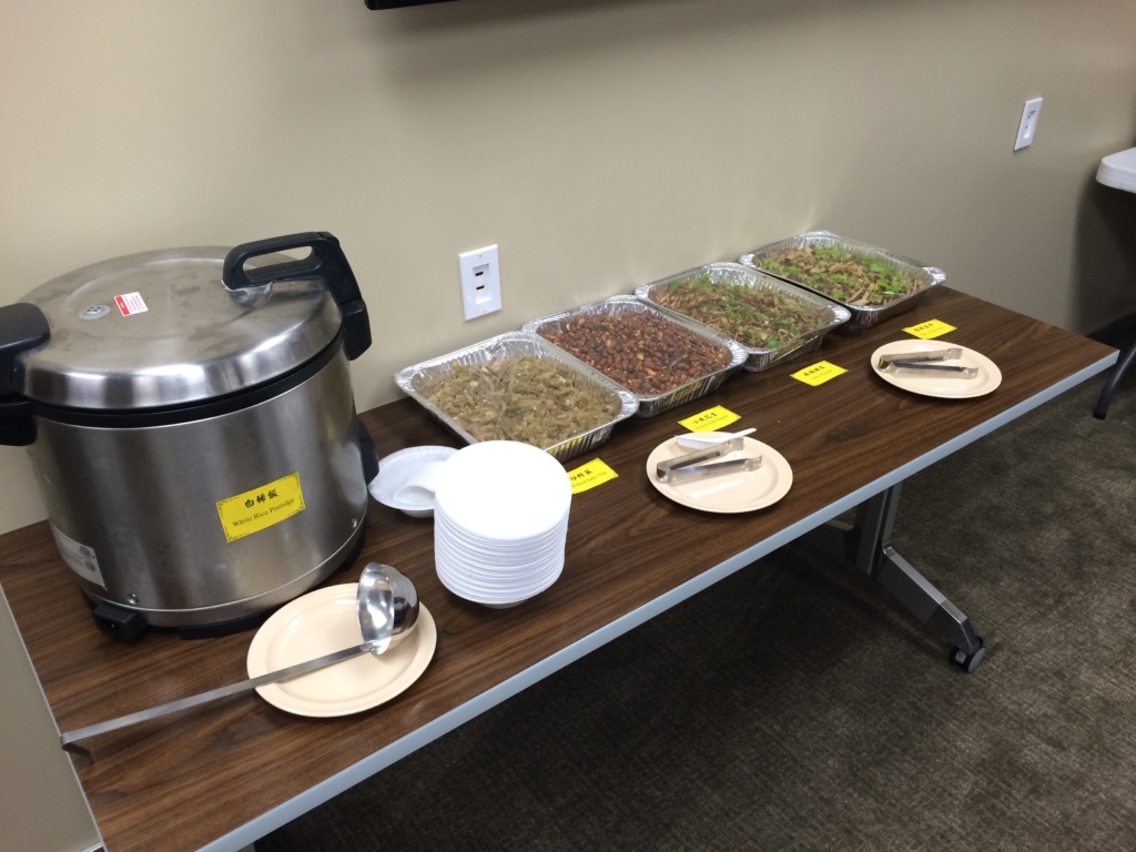 Photo from recent catering event that shows personalized warming methods to keep your food hot